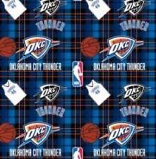 Oklahoma City OKC Thunder Plaid NBA Basketball Print Fleece Fabric #s82..005ac