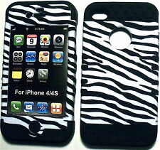 White BLK Zebra Prpl Skin Apple iPhone 4 4s Hybrid 2 in 1 Hard Cover Rubber Case