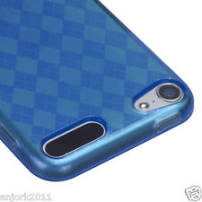 Apple iPod Touch 5 Candy Skin Tpu Gel Cover Case Accessory Blue Checkers