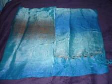 foulard écharpe bleu turquoise et marron, matière légère  taille unique