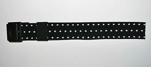 Aftermarket Replacement Strap For Swatch POP Watch Black With White Dots Fabric