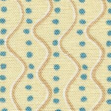 Fabric African Turquoise Dots Wavy Stripe on Cream Cotton 1 3/4 Yard