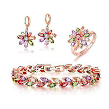 Rainbow Morganite Peridot Amethyst Rose Gold Plated Bracelet Earrings Ring Sz 7