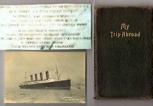 1912 Titanic Era Handwritten Trip Diary Cunard Lusitania Europe Maynard Gomm