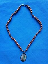 """OUR LADY of GUADALUPE WOOD ROSARY NECKLACE"" NEW"