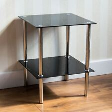 2 Tier Glass Shelf Unit Black Shelving Storage Square Modern By Home Discount