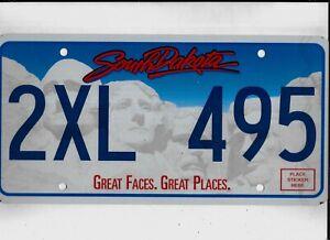 "SOUTH DAKOTA passenger license plate ""2XL 495"" *****MINT*****"
