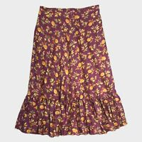 Laura Ashley Archive Mauve Brown Fruit Leaf Print Retro Frill Maxi Skirt 16 B1