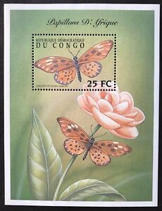 CONGO BUTTERFLIES OF AFRICA STAMPS S/S 2001 MNH FLOWERS INSECT FAUNA WILDLIFE