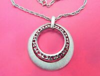 """Vintage Signed Crown Trifari Necklace Large Double Hoop Silver Tone Chain 30"""""""