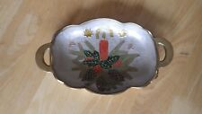 Cloisonné Enamel Painted Heavy Brass Christmas Candy Dish