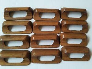 "12 Danish 1960s Wood Cup Pull Handles w Screw Thread Inserts & Screws 3.75"" Wide"