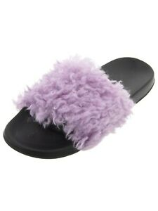 PJ Couture Women's Lavender Sherpa Slide Siip On House Slippers EVA