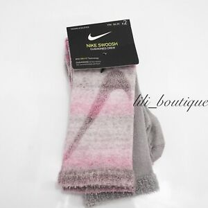 Nike SX7306-941 Youth Athletic Swoosh Crew Socks 2 Pack Medium (5Y-7Y) Pink Grey
