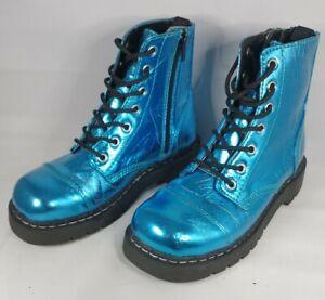 Anarchic by T.U.K. metallic blue 7 Hole Boots Combat Zip LaceUp US 7 UK 5 EU 38