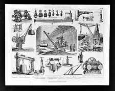 1874 Bilder Technology Print - Industrial Cranes - Block & Tackle Pully Hooks