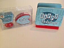 Sleigh Bell Bistro Retro/Atomic Turquoise & Red Napkin Holder & Salt/Pepper Set