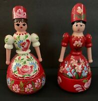 2 - Norwegian Rosemaling Folk Art Wooden Scandinavian Figurine Trinket Box