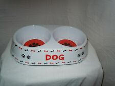 """Dog"" Double Diner - White, Black, and Red  - Top Paw Brand (Pre-Owned)"