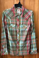 DICKIES Women's Army Green Long Sleeve Plaid Snap Front Shirt FL051PLS