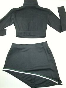 "Sexy Adult M Cheerleader Uniform Outfit Black Crop Top 36"" Skirt 28"" Black"