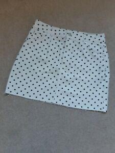 BNWT TOPSHOP white and black spot mini denim skirt size 12