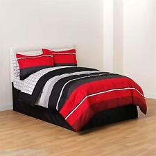 Essential Home 6-piece TWIN  Complete Bed Set - Ashford Red/Black Comforter Set