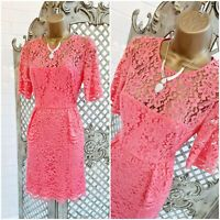 WHISTLES 💋 UK 12 Coral Sheer Floral Lace Peplum Cocktail Dress ~Free Postage~