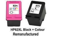 2x REM HP62XL Ink Cartridges BLACK+COLOUR for Envy5540,7640 Officejet 5740