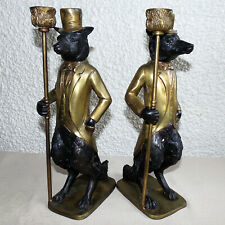 """Two Antique Cast Brass Fox Figurine Candle Holders 15"""" Tall"""