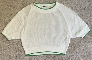 Womens Size Small Kimchi Blue Urban Outfitters Cropped Sweater Cream/Green