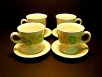 Franciscan Picnic Footed Cups & Saucer Yellow Green Flowers-Lot of 4 Sets!