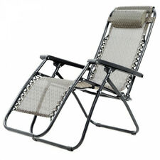 Reclining Deck Camping Chair 110x65cm 150kg Capacity Zero Gravity, Beige