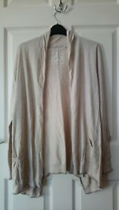 Fat Face Drape Cardigan Size 12 Natural Cream Ivory Cotton/Modal with embroidery