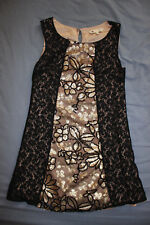 Yumi Women's Ladies Black Lace Gold Sequin Dress Size 10 Good Used Condition