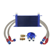 Universal 10-Row 10AN Engine Transmission Oil Cooler Kit +Filter Adapter Kit New