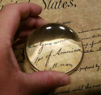 Vintage Antique Style Solid Brass Heavy Glass Magnifying Desk Lens Magnifier