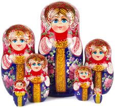 "Nesting Dolls 7 pcs 9"" Russian Doll Matryoshka w/ Floral Art Hand Painted Russia"