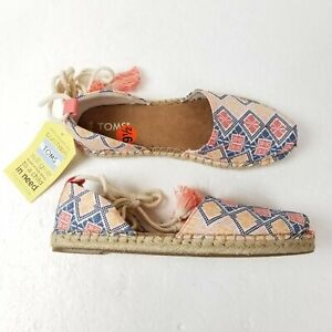 Toms Natural Geo Embroidered Woven Katalina Espadrille Sandal Flats Womens 9.5