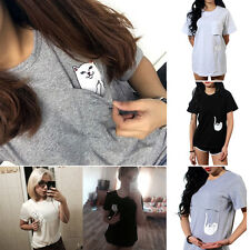 Pocket Cartoon Cat Womens T-shirt Blouse Short Sleeve Casual Shirt Top Plus Size