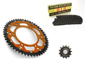 Kit Chaine DID KTM EXC+F 125/250/300/350/400 1991 à 2020 Bi Métal Orange 13x50
