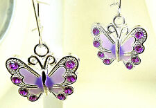 """New Purple Enamel BUTTERFLY Silver-tone Dangle Earrings with Crystals 1-1/3""""long"""