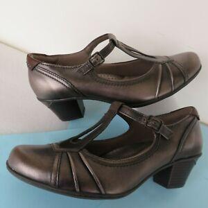 EARTH Wanderlust Pewter Leather Mary Jane T-Strap Heel RETRO Shoe 9B Unworn MINT