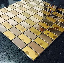 Metallic Gold Bronze Stainless Steel Mosaics Sheet Tile Splashback 049-36
