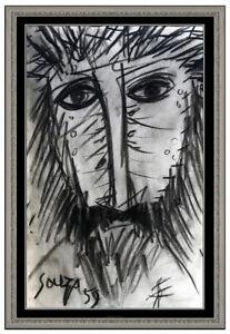 Francis Newton FN Souza Original Charcoal Drawing Male Portrait Signed Modern