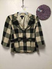 Ladies belted dress blazer coat size 14 black beige checks Focus 2000 164