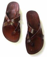 Jerusalem Biblical Jesus Sandals Brown Leather Strap Flip Flops Handmade