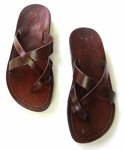 Jerusalem Biblical Jesus Sandals Brown Leather Strap Flip Flops Handmade