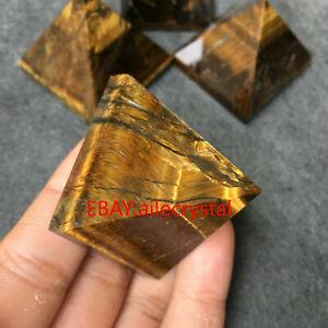 1pc natural Tiger's eye crystal quartz pyramid obelisk healing