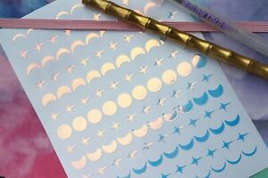 Iridescent crescent moon and star stickers, moon phases, waterproof vinyl